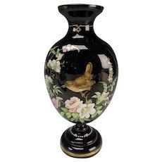 Antique Thomas Webb or Bohemian Hand Painted Black Glass Vase