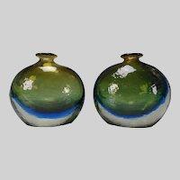 c1950 Danish Swedish Cased Cobalt Art Glass Vase Pair