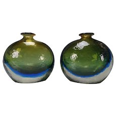 c1950 Danish Swedish Cased Cobalt Art Glass Vase Pair