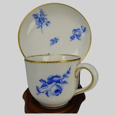 Antique 18c Sevres Porcelain Hand Painted Cup Saucer