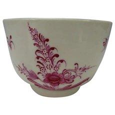 Antique 18c English Worcester Soapstone Hand Painted Tea Bowl