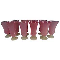 Antique Steuben Tall Rosaline Glass Tumblers SET of 10