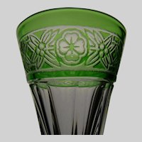 Art Deco St Louis Crystal Green Cut to Clear Banded Cordial Stem