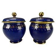 c1860 Sevres Porcelain French Lidded Mini Pot Vase Pair