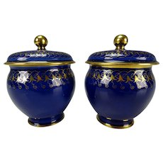 c1860 Sevres Porcelain French Lidded Mini Pot Vase Pair
