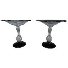 Antique Pairpoint Bubble Ball Black Glass Compote Pair