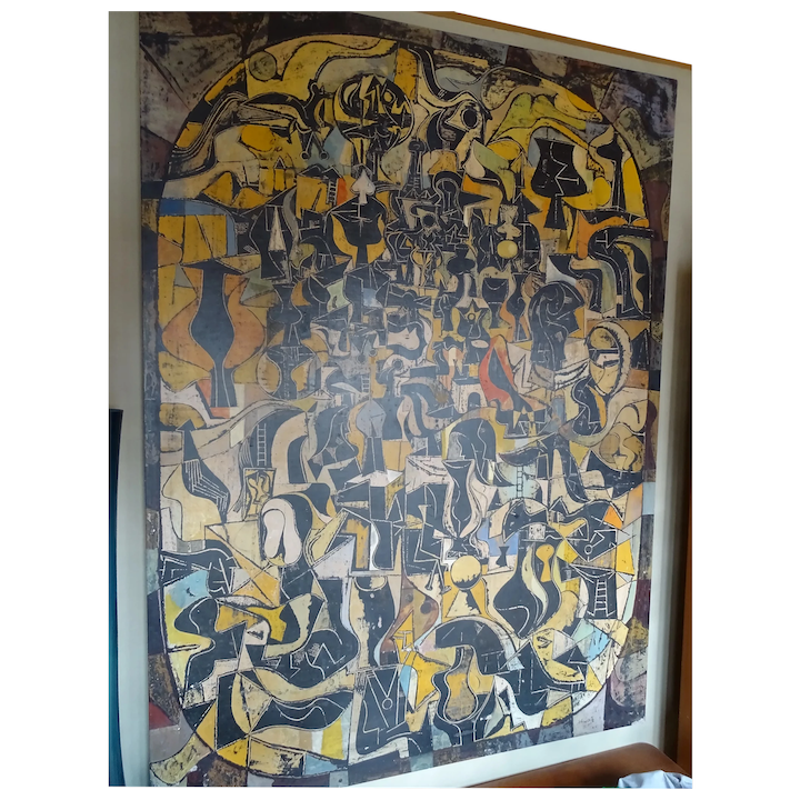 Mid Century Modern Irving Schwartz Acrylic On Board Abstract Painting
