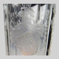 Antique 19c Bohemian Armorial Cut Engraved Wine Glass Flute