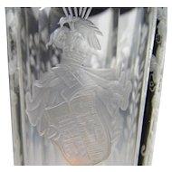 Antique 19c English Stourbridge Cut Engraved Wine Glass Flute