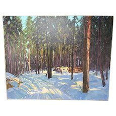 Robert Shaw Wesson Oil Painting Logging in Winter