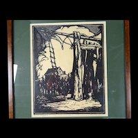 Donald Frederick Witherstine Signed Woodblock Print WPA era