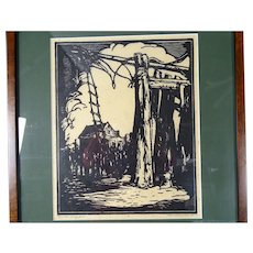 Donald Frederick Witherstine Signed Woodblock Print WPA era