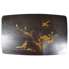Huge Antique Japanese Lacquer on MAKIE Wood Panel Birds and Blossoms