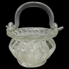 Antique Hand Blown Ribbed Glass Studio Handmade Flower Basket