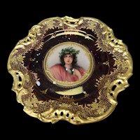 Antique Dresden Porcelain Beauty Portrait Plate c1900 AF