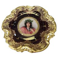 Antique Dresden Porcelain Beauty Portrait Plate c1900 AF