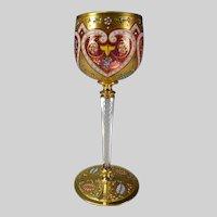 Antique Moser Bohemian Enameled Cranberry Wine Glass Stem
