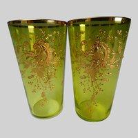 PAIR of Antique Moser Gilt Enamel Juice Citron Glass Tumblers c1890