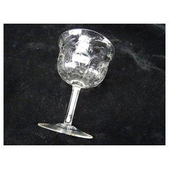 Antique Signed Webb Rock Crystal Engraved Cherry Blossom Wine Glass Stem