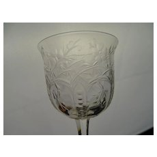 Antique Webb Signed Rock Crystal Engraved Cherry Blossom Wine Glass Stem
