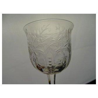 Antique Webb Signed Rock Crystal Engraved Cherry Blossom Wine Glass Stem