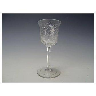 Antique Webb Signed Engraved Cherry Blossom Liquor Cordial Glass Stem
