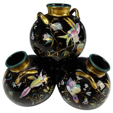 Antique Thomas Webb Hand Painted Black Glass Vase