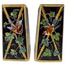 Antique Thomas Webb Hand Enameled Glass Vase Pair