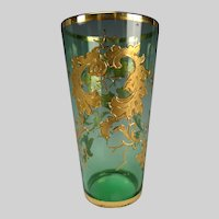 Antique Moser Bohemian Aqua Gilt Enameled Juice Glass Tumbler