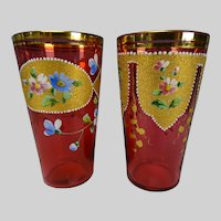c1890 Moser Bohemian Hand Painted and Gilt Cranberry Glass Tumblers