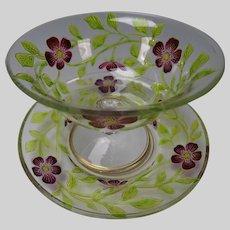 Art Nouveau Bohemian Marquetry Cameo Glass Plate Bowl