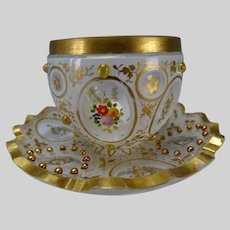 Antique Moser Bohemian Overlay Glass Persian Jeweled Tea Cup Saucer