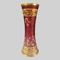 Art Nouveau French or Bohemian Enameled Cranberry Cameo Glass Vase