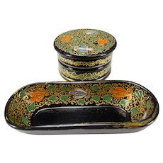 Antique Moser Enameled Glass Vanity or Stamp Box and Tray