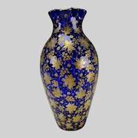 Antique Loetz or Moser Cobalt Blue and Gold Persian Gilt Glass Vase