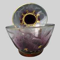 Antique Bohemian Moser Cameo Engraved Lily Glass Bowl and Plate