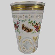 Antique Bohemian Overlay Cut to Clear Enamel Glass Beaker Vase