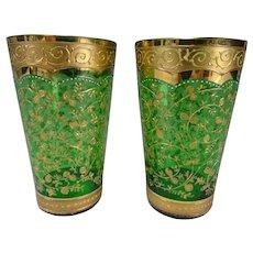 Fine Antique Moser Enameled Juice Glass Tumblers