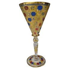 Art Nouveau Moser Enamel Wine Glass Chalice Goblet c1905