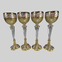 4 Antique Bohemian Hand Painted Enamel Wine Glass Stems