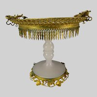 Antique French Opaline Palais Royal Glass Ormolu Compote Stand