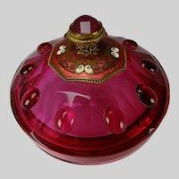 Art Deco French Enameled Jeweled Lidded Vanity Cranberry Glass Box