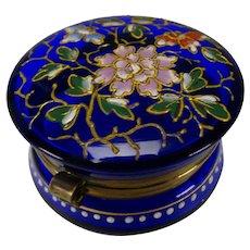 Antique Moser Bohemian Aesthetic Enameled Glass Trinket Box