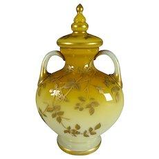 Antique Bohemian Harrach Cased Opaline Glass Lidded Urn/Vase