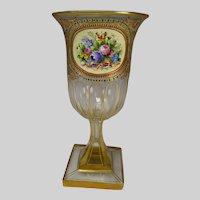 Antique Bohemian Moser Enameled Glass Vase c1885