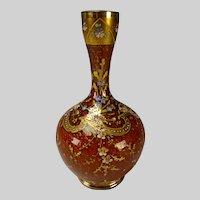 c1885 Antique Moser/Loetz Enamel Glass Vase Brick Red Mica