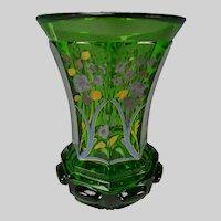 Antique Bohemian Hand Gilt and Enamel Glass Beaker Vase c1845