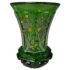 Antique Bohemian Hand Gilt and Enamel Glass Beaker Vase c1845