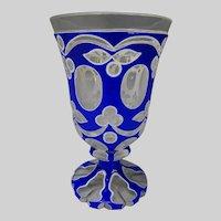 Antique Bohemian Double Overlay Glass Beaker Vase