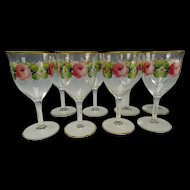 Vintage Franciscan Desert Rose Wine Glass Stem Set of 8 c1950